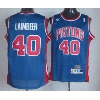 Pistons #40 Bill Laimbeer Blue Throwback Stitched NBA Jersey