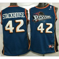 Pistons #42 Jerry Stackhouse Blue Throwback Stitched NBA Jersey