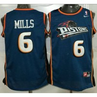 Pistons #6 Terry Mills Blue Throwback Stitched NBA Jersey