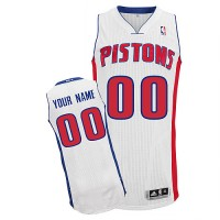 Pistons Personalized Authentic White NBA Jersey (S-3XL)
