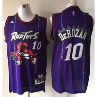 Raptors #10 DeMar DeRozan Purple Hardwood Classics Stitched NBA Jersey