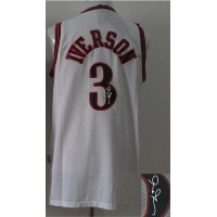 Revolution 30 Autographed 76ers #3 Allen Iverson White Stitched NBA Jersey