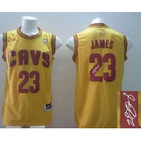 Revolution 30 Autographed Cavaliers #23 LeBron James Yellow Alternate Stitched NBA Jersey