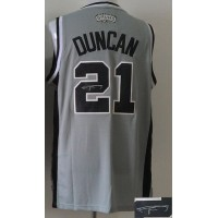 Revolution 30 Autographed Spurs #21 Tim Duncan Grey Stitched NBA Jersey