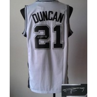 Revolution 30 Autographed Spurs #21 Tim Duncan White Stitched NBA Jersey