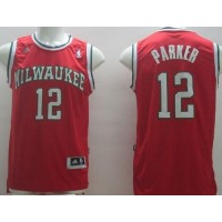 Revolution 30 Bucks #12 Jabari Parker Red Stitched NBA Jersey