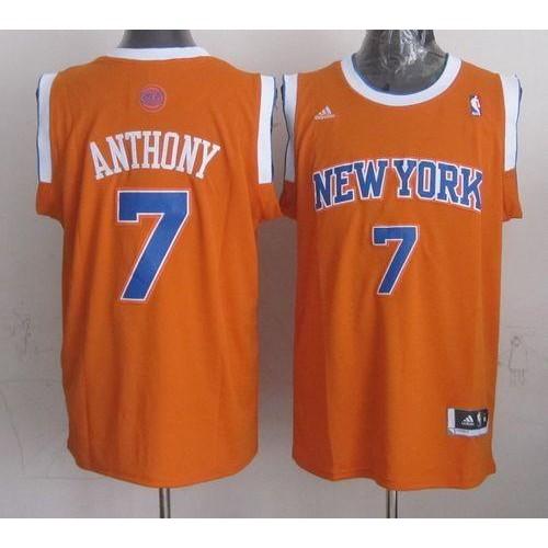 63f1219724e Revolution 30 Knicks  7 Carmelo Anthony New Orange Alternate Stitched NBA  Jersey