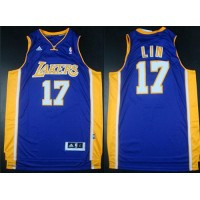 Revolution 30 Lakers #17 Jeremy Lin Purple Road Stitched NBA Jersey
