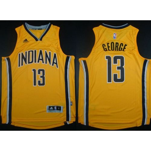 7fb0c4c3294 Revolution 30 Pacers #13 Paul George Yellow Stitched NBA Jersey