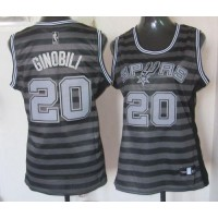 Spurs #20 Manu Ginobili BlackGrey Women's Groove Stitched NBA Jersey