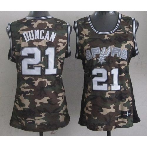 47f4b2a70 Spurs  21 Tim Duncan Camo Women s Stealth Collection Stitched NBA Jersey