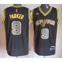 Spurs #9 Tony Parker Black Electricity Fashion Stitched NBA Jersey