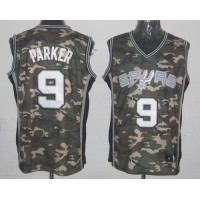 Spurs #9 Tony Parker Camo Stealth Collection Stitched NBA Jersey