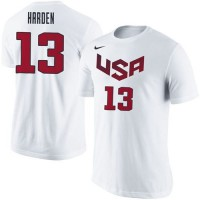 Team USA #13 James Harden Basketball Nike Name & Number T-Shirt White