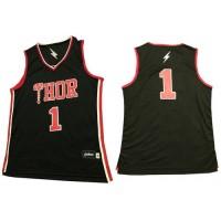 Thor #1 Black Stitched Basketball Jersey