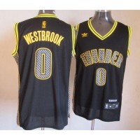 Thunder #0 Russell Westbrook Black Electricity Fashion Stitched NBA Jersey