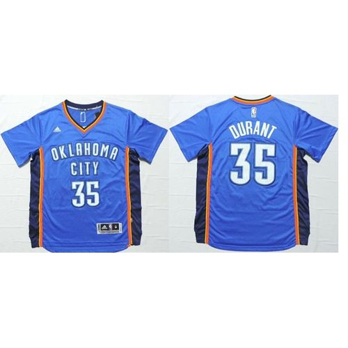 7413bde4873 Thunder  35 Kevin Durant Blue Short Sleeve Stitched NBA Jersey