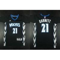 Timberwolves #21 Kevin Garnett Black Alternate Stitched NBA Jersey