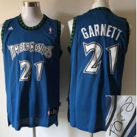 Timberwolves #21 Kevin Garnett Blue Autographed Stitched NBA Jersey