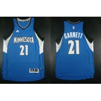 Timberwolves #21 Kevin Garnett Blue Road Stitched NBA Jersey