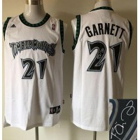 Timberwolves #21 Kevin Garnett White Autographed Stitched NBA Jersey