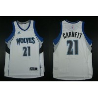Timberwolves #21 Kevin Garnett White Home Stitched NBA Jersey