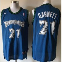 Timberwolves #21 Retro Garnett Blue Stitched NBA Jersey