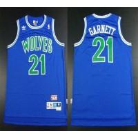 Timberwolves #21 Retro Garnett Blue Throwback Stitched NBA Jersey