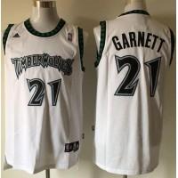 Timberwolves #21 Retro Garnett White Stitched NBA Jersey