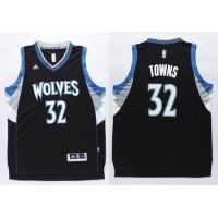 Timberwolves #32 Karl-Anthony Towns Black Stitched NBA Jersey