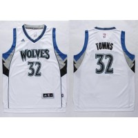 Timberwolves #32 Karl-Anthony Towns White Stitched NBA Jersey