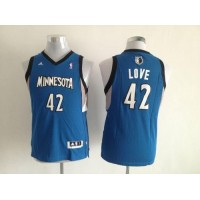 Timberwolves #42 Kevin Love Blue Stitched Youth NBA Jersey