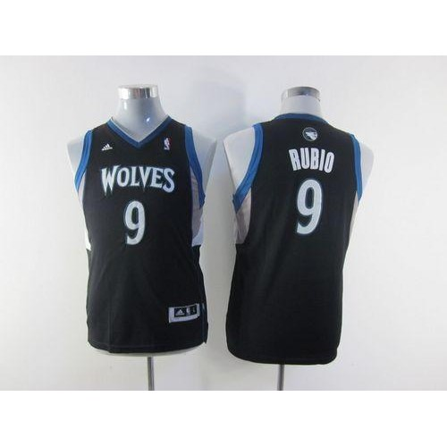 8f512d5c8d0 Timberwolves  9 Ricky Rubio Black Stitched Youth NBA Jersey