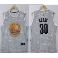 Warriors #30 Stephen Curry Grey City Light Stitched NBA Jersey