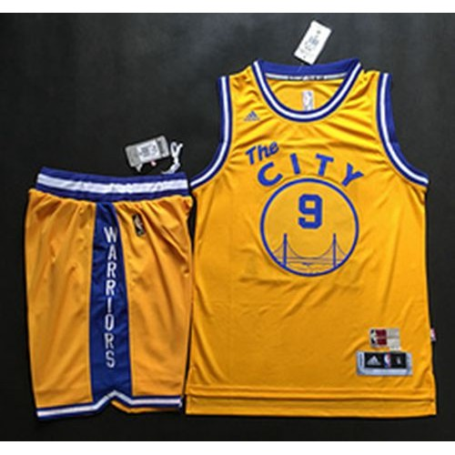 1ac64076a Warriors  9 Andre Iguodala Gold Throwback The City A Set Stitched NBA Jersey