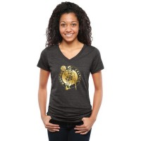 Women's Boston Celtics Gold Collection V-Neck Tri-Blend T-Shirt Black