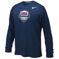 Youth Team USA Basketball Nike Legend Long Sleeves Performance T-Shirt Navy