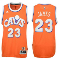 adidas Cleveland Cavaliers #23 LeBron James Orange Hardwood Classics Swingman Jersey