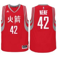 adidas Houston Rockets #42 Nene Hilario Red Chinese New Year Swingman Jersey