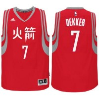 adidas Houston Rockets #7 Sam Dekker Red Chinese New Year Swingman Jersey