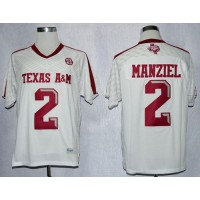 Aggies #2 Johnny Manziel White New SEC Patch Stitched NCAA Jersey