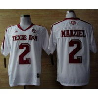 Aggies #2 Johnny Manziel White Techfit SEC Patch Stitched NCAA Jersey