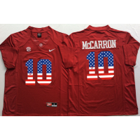 Alabama Crimson Tide #10 AJ McCarron Red USA Flag College Jersey