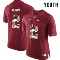 Alabama Crimson Tide #2 Derrick Henry Red With Portrait Print Youth College Football Jersey