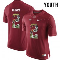 Alabama Crimson Tide #2 Derrick Henry Red With Portrait Print Youth College Football Jersey3