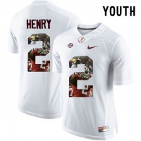Alabama Crimson Tide #2 Derrick Henry White With Portrait Print Youth College Football Jersey2