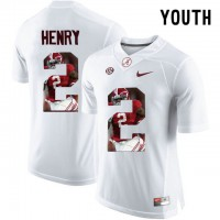Alabama Crimson Tide #2 Derrick Henry White With Portrait Print Youth College Football Jersey3