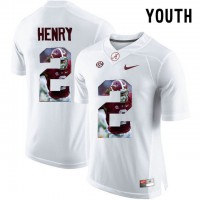 Alabama Crimson Tide #2 Derrick Henry White With Portrait Print Youth College Football Jersey5