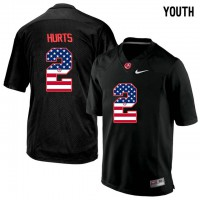 Alabama Crimson Tide #2 Jalen Hurts Black USA Flag College Youth Limited Jersey