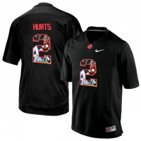 Alabama Crimson Tide #2 Jalen Hurts Black With Portrait Print College Football Jersey